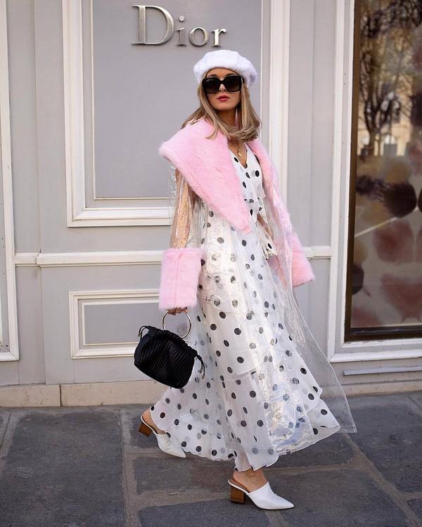dress white dress maxi dress polka dots mules black bag handbag pvc trench coat fur beret