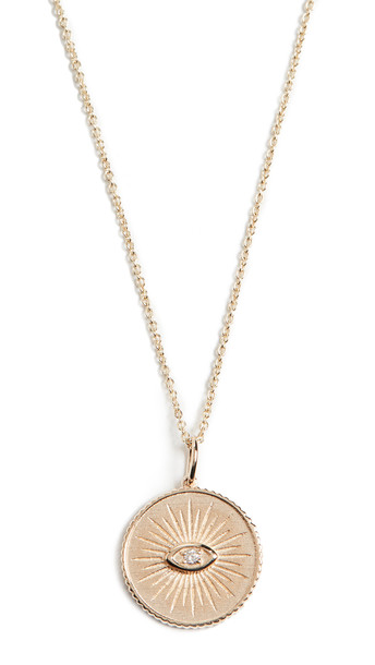Sydney Evan 14k Marquis Eye Coin Necklace in gold / yellow