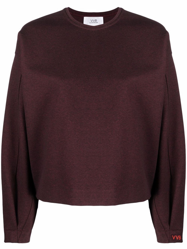 Victoria Victoria Beckham melangé embroidered cuff sweatshirt in red