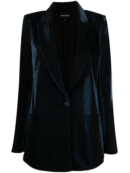 Emporio Armani velvet peaked lapels blazer in blue