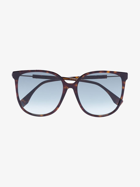 Fendi Brown Tortoiseshell logo arm sunglasses
