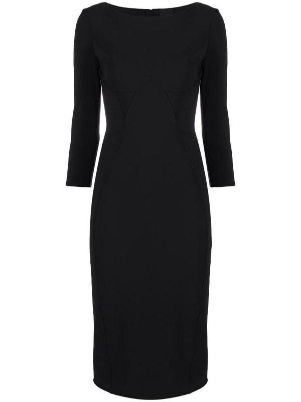 Elisabetta Franchi boat neck fitted dress in black