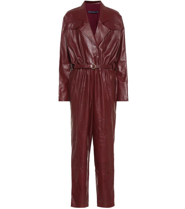 Zeynep Arçay Leather jumpsuit in red