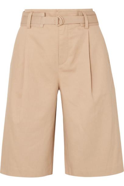 Vince - Belted Cotton-blend Twill Shorts - Beige