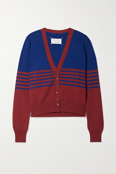 Maison Margiela - Two-tone Striped Wool And Cotton-blend Cardigan - Blue