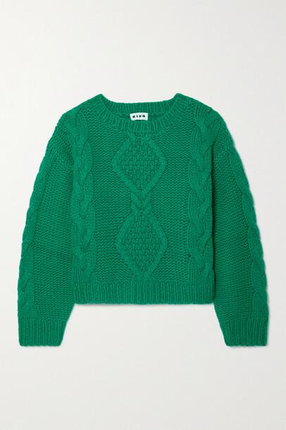 RIXO - Darlene Cable-knit Wool-blend Sweater - Green