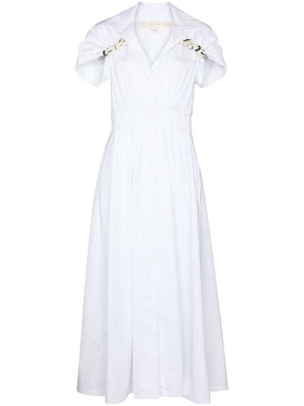 By Any Other Name shirred-effect midi shirtdress in white