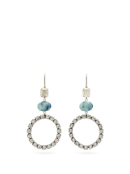 Isabel Marant - Crystal And Marbled Drop Earrings - Womens - Blue