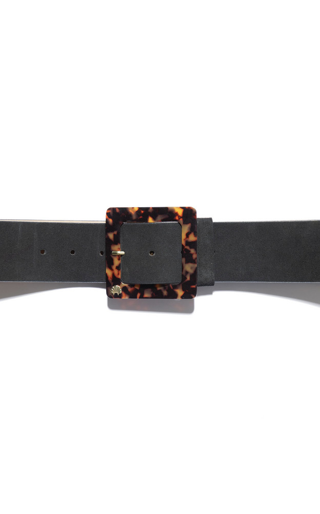 Lele Sadoughi Tortosieshell Suede and Acetate Belt in black
