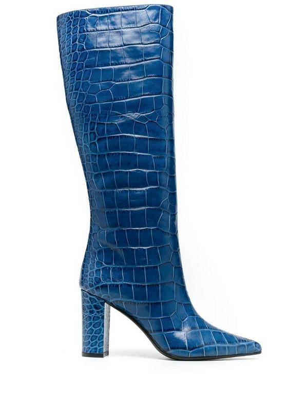 Giuliano Galiano Serena crocodile effect boots in blue