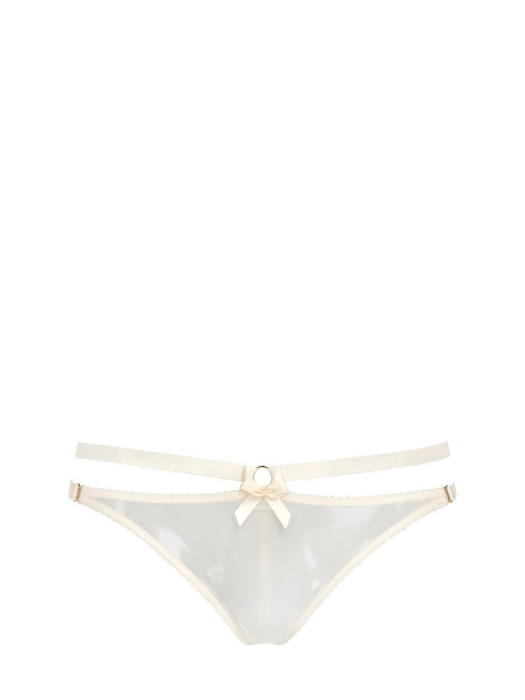 BORDELLE Harness Elastic Satin Thong in ivory