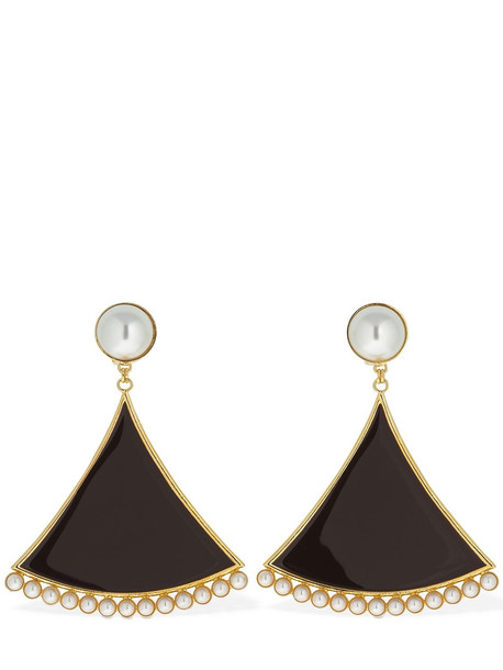 ROWEN ROSE Triangle Clip-on Pendent Earrings in brown