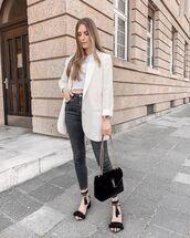 jeans,black jeans,skinny jeans,ysl bag,white blazer,crop tops
