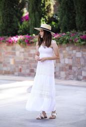 inspades,blogger,dress,shoes,hat,jewels,white dress,maxi dress,summer dress