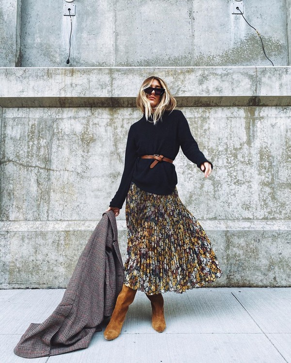 skirt pleated skirt floral skirt knee high boots brown boots black sweater coat plaid