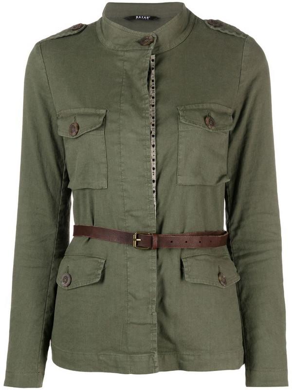 Bazar Deluxe belted linen-blend jacket in green
