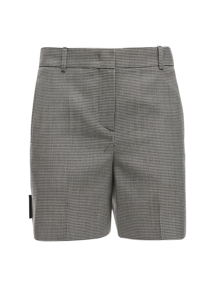 WE11 DONE Tailored Wool Blend Shorts in black / white