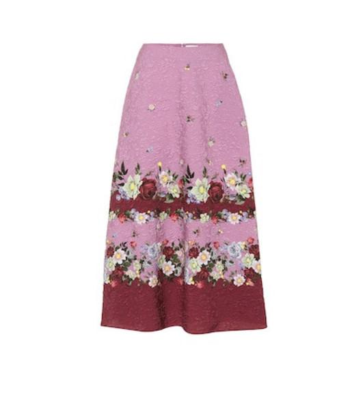 Erdem Tiana matelassé midi skirt in pink