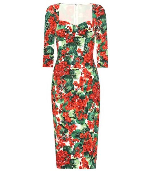 Dolce & Gabbana Floral stretch crêpe midi dress in red