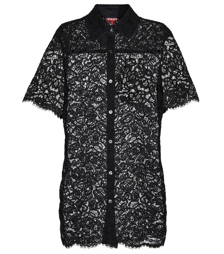 Staud Pallas lace shirt in black