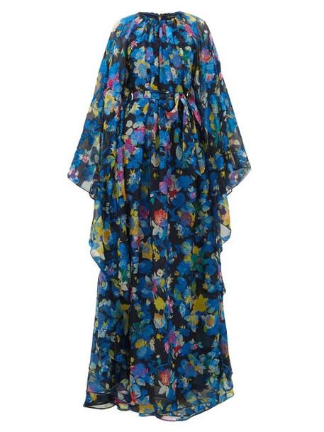 Etro - Floral-print Cape-sleeve Silk-blend Maxi Dress - Womens - Blue Multi