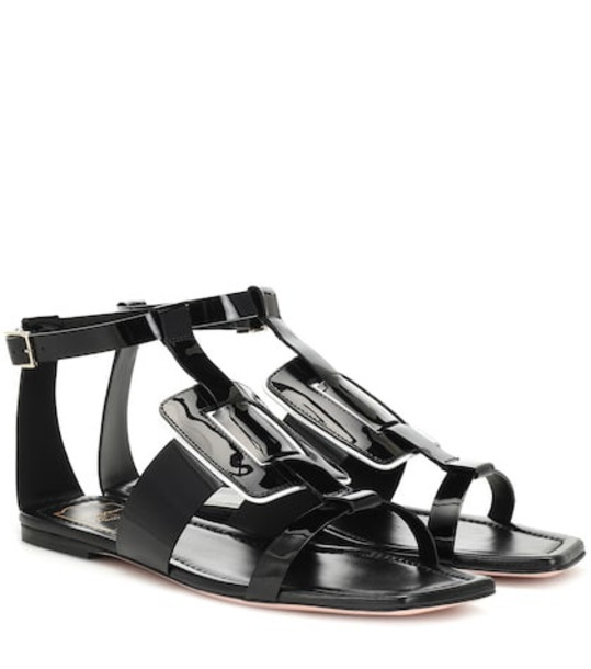Roger Vivier Viv' Sellier patent leather sandals in black