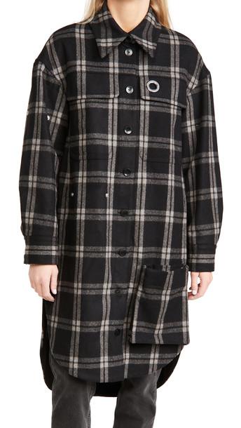 Tibi Oversized Shirt Coat in black / multi
