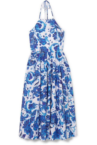 Caroline Constas - Gretta Printed Cotton-blend Halterneck Dress - Blue