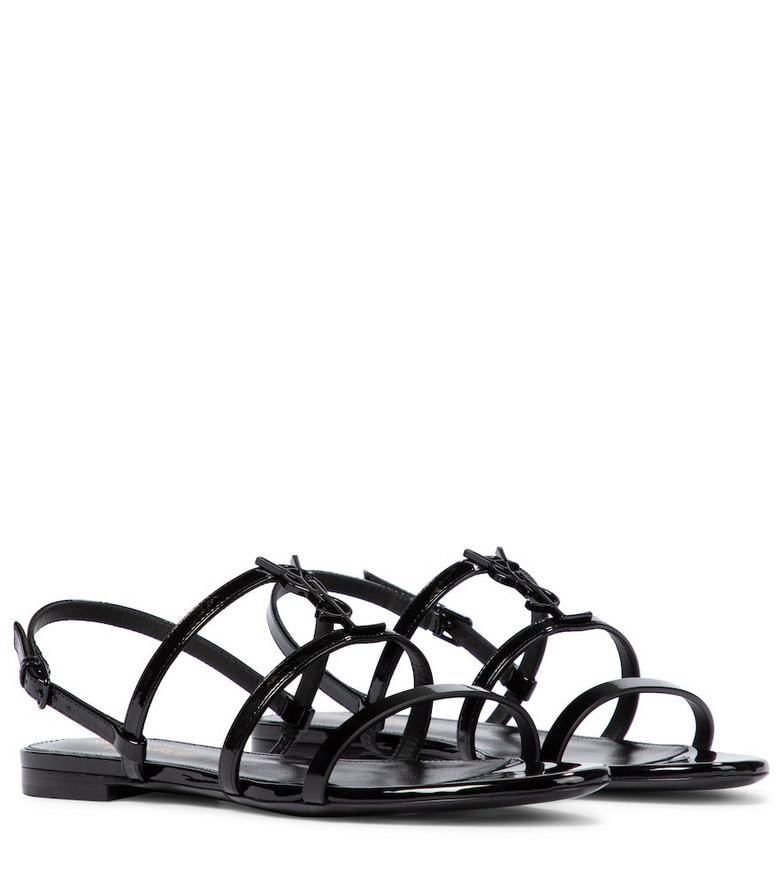 Saint Laurent Cassandra patent leather sandals in black