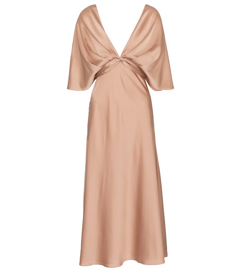 Safiyaa Carmen satin midi dress in pink