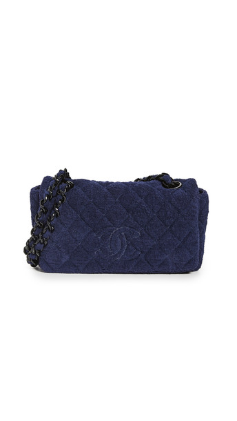 What Goes Around Comes Around Chanel Navy Terry Full Flap Bag