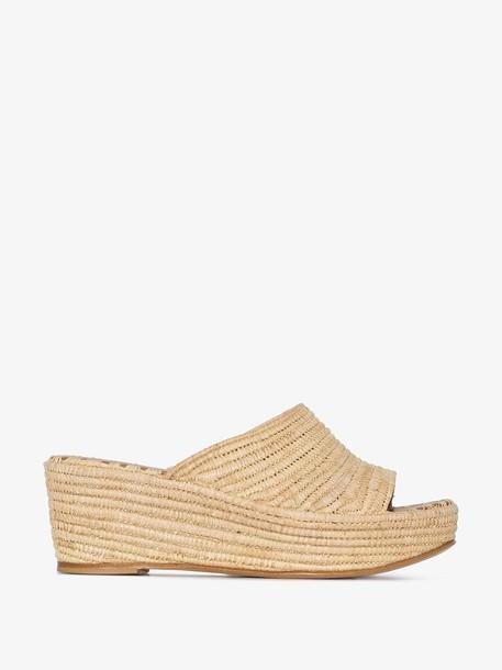 Carrie Forbes Cream Karim 20 raffia wedge sandals