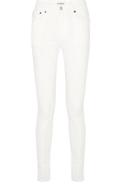 Balenciaga - Distressed High-rise Skinny Jeans - White