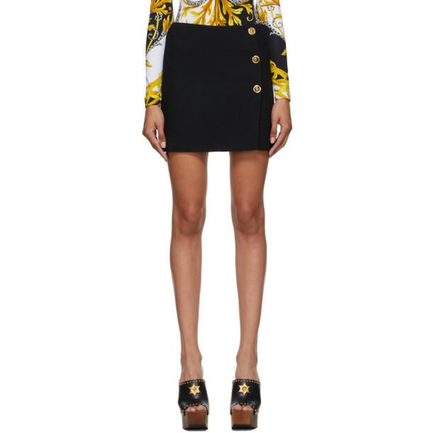 Versace Black Button Skirt in nero
