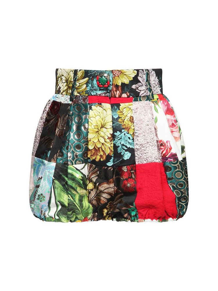 DOLCE & GABBANA Patchwork Printed Cotton Poplin Shorts