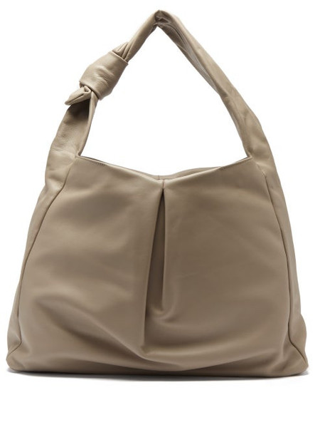 Staud - Island Large Knotted Leather Tote Bag - Womens - Grey