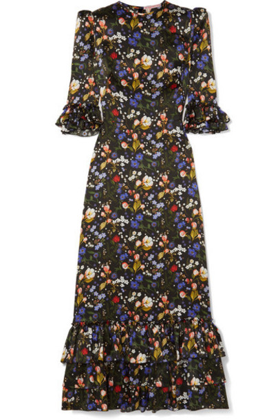 The Vampire's Wife - The Royal Cinderella Ruffled Floral-print Silk-satin Maxi Dress - Black
