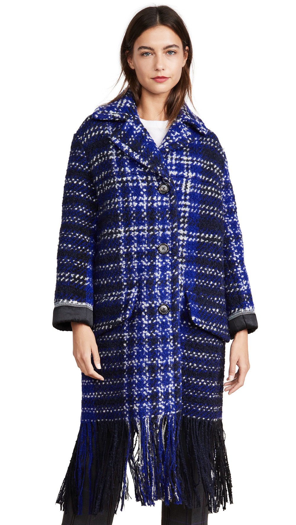 Marni Plaid Coat in blue