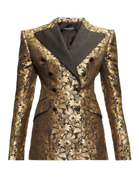 Dolce & Gabbana - Floral Lamé-jacquard Double-breasted Blazer - Womens - Gold Multi