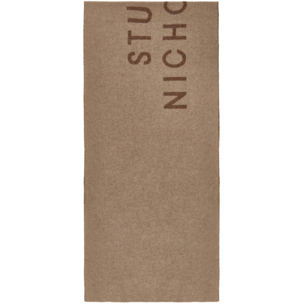 Studio Nicholson Beige Wool The Logo Scarf in camel / tan