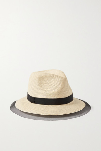 Eugenia Kim - Courtney Grosgrain And Tulle-trimmed Straw Sunhat - Beige
