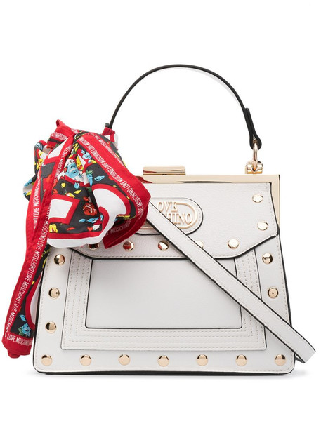 Love Moschino studded mini doctors bag in white
