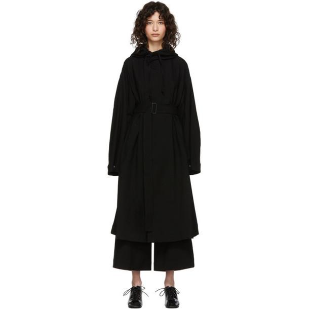 Regulation Yohji Yamamoto Black Wool Hooded Coat