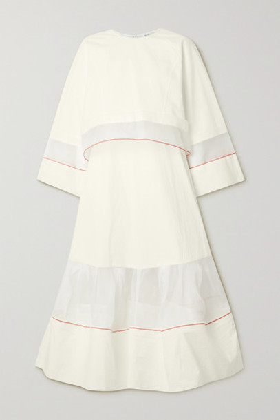 Rosie Assoulin - Convertible Layered Organza-trimmed Cotton-poplin Maxi Dress - White