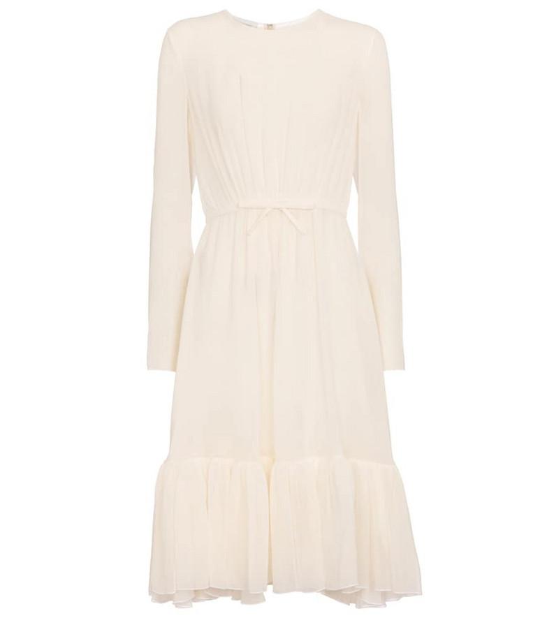 GIAMBATTISTA VALLI Belted silk georgette midi dress in white