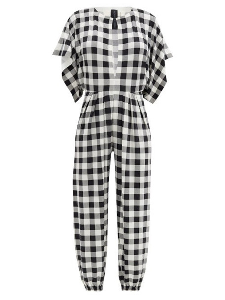 Norma Kamali - Waterfall-sleeve Gingham-jersey Jumpsuit - Womens - Black White