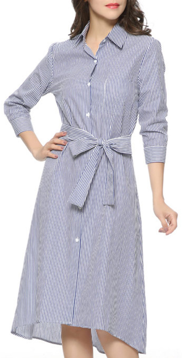 dress blue stripes summer stylish midi elegant work outfits office outfits