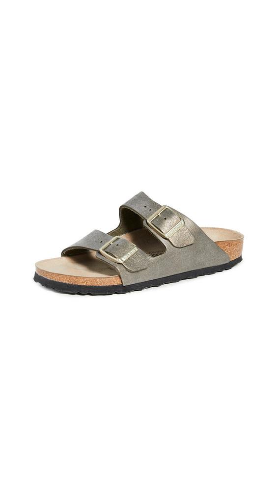 Birkenstock Arizona Sandals in gold / stone / metallic