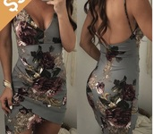 dress,grey,floral,gold,rose,mini,low cut,low back,straps,strappy,flowers,red,purple,dark,pattern,floral pattern