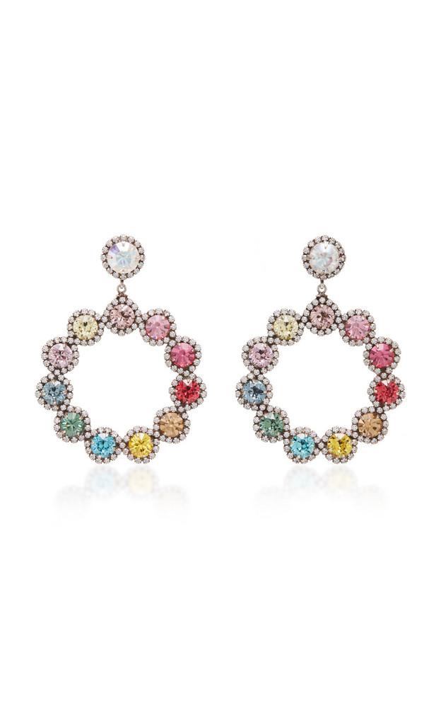 Dannijo Isabelle Rainbow Brass and Crystal Hoop Earrings in multi